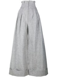 Jacquemus Pinstripe Wide Leg Trousers With High Waist Grey