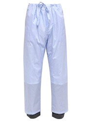 Y Project Pinstripe Wool Cuff Cotton Trousers Blue