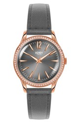 Henry London Finchley Leather Strap Watch 34Mm Grey Rose Gold