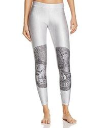 Terez Crystal Embellished Skull Leggings White