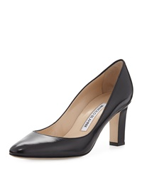 Manolo Blahnik Lisaqua Leather Almond Toe Pump Navy