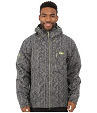 Outdoor Research Igneo Jacket Pewter Lemongrass Print Men's Clothing Gray