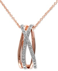 Effy Collection Pave Rose By Effy Diamond Pave Crossover Pendant 1 5 Ct. T.W. In Two Tone 14K Gold