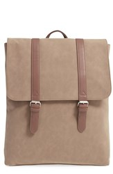 Men's Topman Faux Suede Backpack Beige Stone