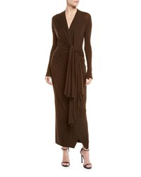 Urban Zen Transformer Tie Front Long Sleeve Stretch Jersey Long Dress Bronze