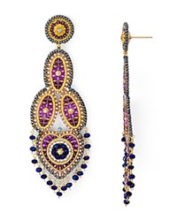 Miguel Ases Beaded Chandelier Drop Earrings Purple Gold