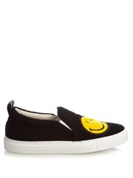 Joshua Sanders Smiley Felt Slip On Trainers Black