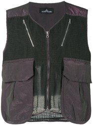 Stone Island Shadow Project Mesh Panel Gilet Men Cotton Polyester L Green