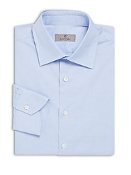 Canali Modern Fit Textured Cotton Dress Shirt Blue