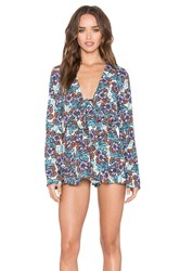 Glamorous Tie And Ruffle Romper Blue