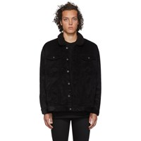 Naked And Famous Denim Ssense Exclusive Black Corduroy Oversized Sherpa Jacket