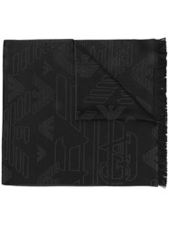 Emporio Armani Embroidered Eagle Scarf Black