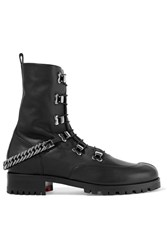 Christian Louboutin Chain Trimmed Leather Boots Black