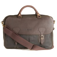 Barbour Wax Cotton And Leather Trim Satchel Olive