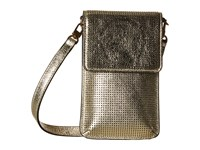 Tory Burch Logo Perforated Metallic Phone Crossbody Spark Gold Cell Phone Case Brown