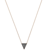 Michael Kors Black Pave Triangle Necklace Rose Gold