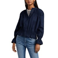 Frame Smocked Linen Blend Bomber Jacket Navy