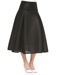 Jonathan Simkhai Textured Full Pleated Midi Skirt Black