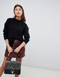 Boohoo High Neck Sweater In Black Black