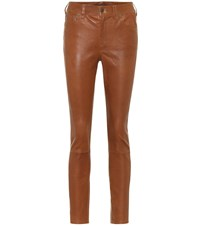 Polo Ralph Lauren Leather High Rise Slim Pants Brown