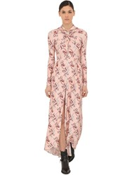 Paco Rabanne Printed Shiny Midi Dress W Crystals Pink