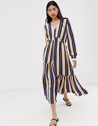 Selected Stripe Maxi Dress Blue