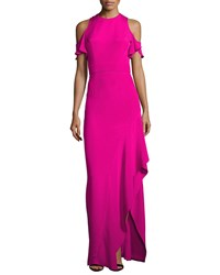 Theia Cold Shoulder Silk Crepe Column Gown Pink
