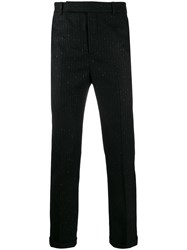 Saint Laurent Metallic Pinstripe Tailored Trousers Black