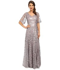 Donna Morgan Sequin Gown With Sleeve Grey Ridge Women's Dress Purple