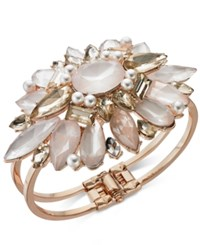 Inc International Concepts I.N.C. Rose Gold Tone Crystal And Imitation Pearl Cuff Bracelet Created For Macy's Rose Gold