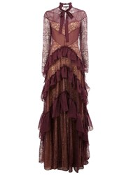 Zuhair Murad Floral Lace Tiered Gown Pink And Purple