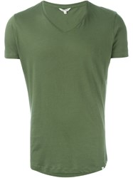 Orlebar Brown V Neck T Shirt Green