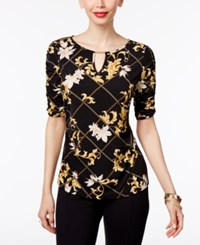 Thalia Sodi Printed Ruched Hardware Top Only At Macy's Deep Black Combo