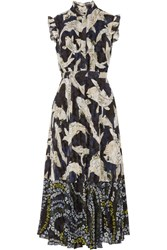 Erdem Roisin Pleated Fil Coupe Chiffon Midi Dress Navy