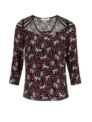 Morgan Tigers Print And Lace Blouse Black