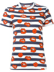 Au Jour Le Jour Mouth Print Striped T Shirt Blue
