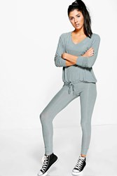 Boohoo Amelia Rib Knit Loungewear Set Smoke