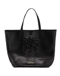 Seafolly Carried Away Pineapple Vegan Leather Tote Bag Black