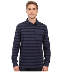 Nautica Long Sleeve Shipman Stripe Polo Mood Indigo Men's Long Sleeve Pullover Navy