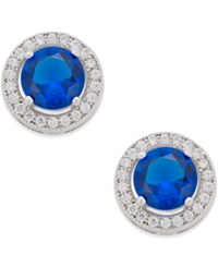 Giani Bernini Blue Crystal Cubic Zirconia Halo Stud Earrings In Sterling Silver Only At Macy's