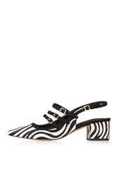 Topshop Java Zebra Sling Back Mid Shoes Monochrome