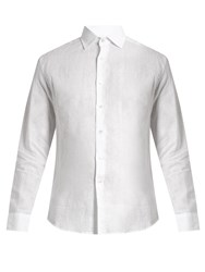 Frescobol Carioca Point Collar Linen Shirt White