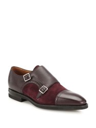 Bally Scribe Novo Monk Strap Suede And Leather Shoes Merlot