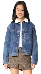 Helmut Lang Short Sherpa Denim Jacket Dark Hot Spot