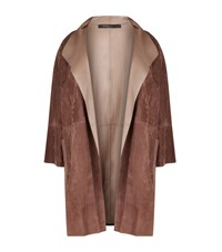 Marina Rinaldi Suede Leather Panel Coat Female Brown
