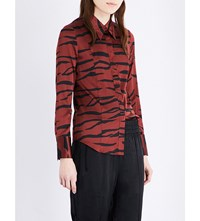 Ganni Iona Tiger Print Stretch Silk Shirt Brick Tiger