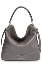 Marc By Marc Jacobs 'New Too Hot To Handle' Leather Hobo Grey Faded Aluminum