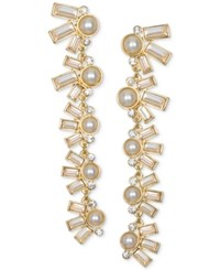 Jewel Badgley Mischka Crystal And Imitation Pearl Linear Drop Earrings Gold