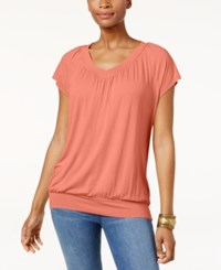 Jm Collection Blouson T Shirt Only At Macy's Peach Zing