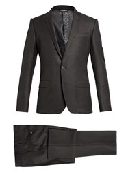 Dolce And Gabbana Martini Fit Wool Silk Blend Suit Charcoal